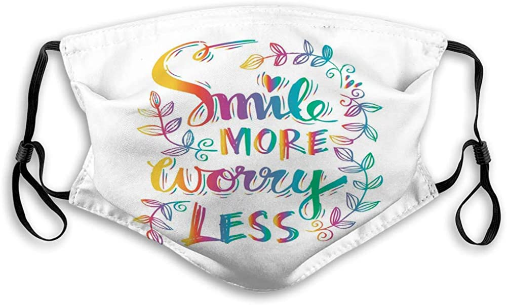 Dustproof Mouth Shield with Adjustable Ear Loops Smile More Worry Motivational Positive Hand let Elastic Cover