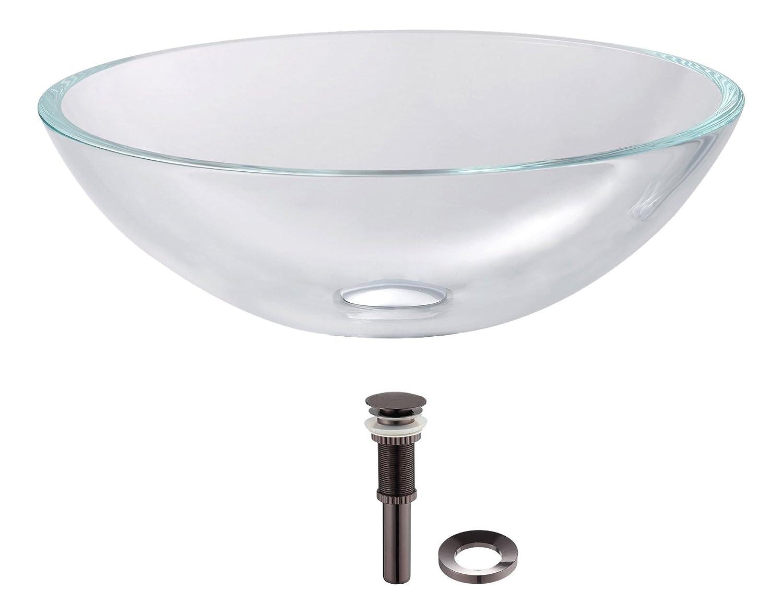 Kraus GV-100-ORB Crystal Clear Glass Vessel Bathroom Sink with PU-MR Oil Rubbed Bronze by Kraus B006ZTEMWM