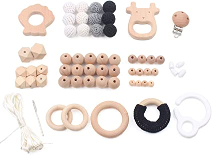 Natural Wood Ring Paint Round Beads Baby Teething Sensory Activity Play Gym Toys