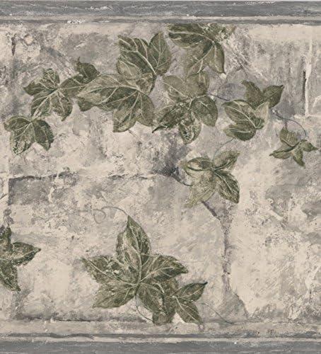 """羽田花の灰色の壁紙ボーダーレトロなデザインロール15の緑'x 9 """""""