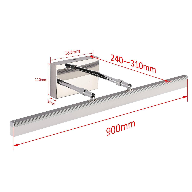 Sailun 20w 36 inch vanity light fixture arm length adjustable bathroom vanity mirror light stainless steel