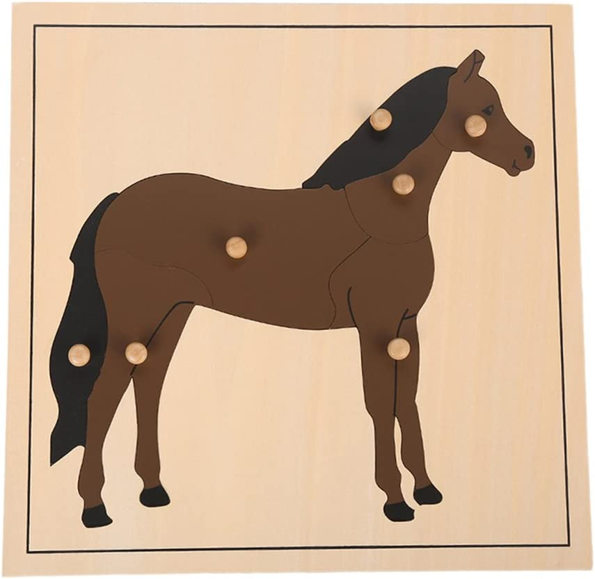 LEADER JOY Montessori Nature Materials Horse Puzzle for Early Preschool Learning Toy