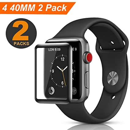 40 MM Smart Watch Screen Protector, ZAMO Screen Protector for Watch Series 4 (40mm), 3D Tempered Glass Full Coverage,Scratch Resistant Waterproof, and ...
