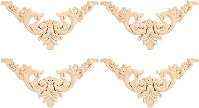 16x12x0.4 WINGOFFLY Wood Carved Onlay Corner Unpainted Applique Frame for Decoration Home Furniture Doors Windows Grape4 2Pics