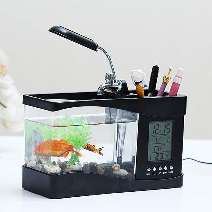 Tanque de peces de acuario Mini USB LCD Luz de escritorio Acuario ...