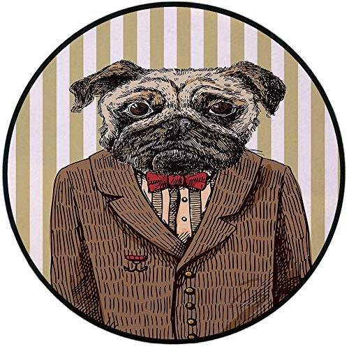Printing Round Rug,Pug,Hand Drawn Sketch of Smart Dressed Dog Jacket Shirt Bow Suit Striped Background Decorative Mat Non-Slip Soft Entrance Mat Door Floor Rug Area Rug For Chair Living Room,Brown Pal