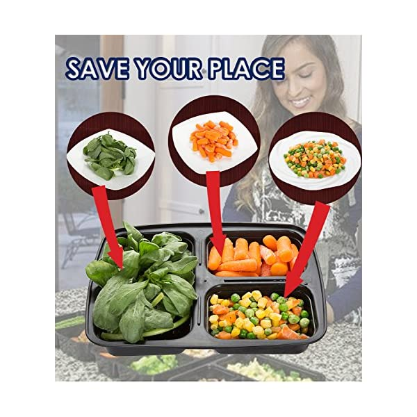 Meal Prep Containers Compartment Food Prep Containers Bento Box BPA-Free Food Storage Containers with Lids-Reusable Meal Prep Containers (Black 20-3) 61 UVGxy4rL