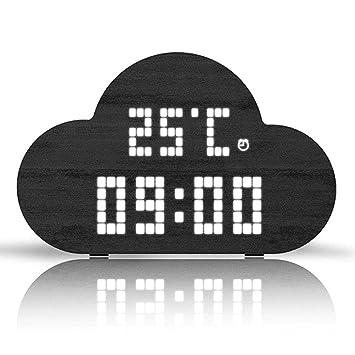 IDABAY Despertador de Madera Nube Reloj de Mesa LED Brillo Digital Pantalla de Temperatura y Humedad con Activación de sónido para Oficina Hogar (arrón, ...