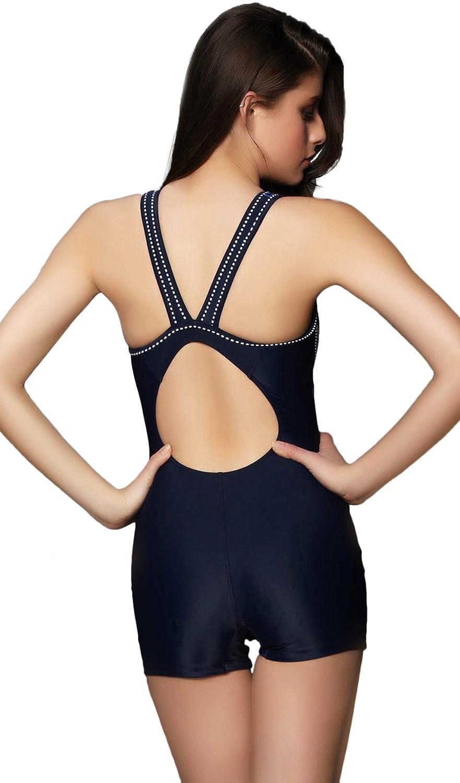0f88503c10 Hungo Womens Boyleg Swimwear One Piece Swimsuit Sports Training Swimming  Costume