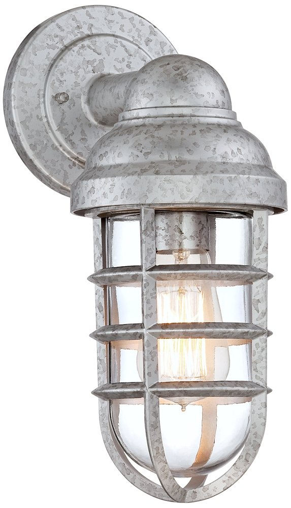 Marlowe galvanized 13 14h metal cage outdoor wall light amazon workwithnaturefo