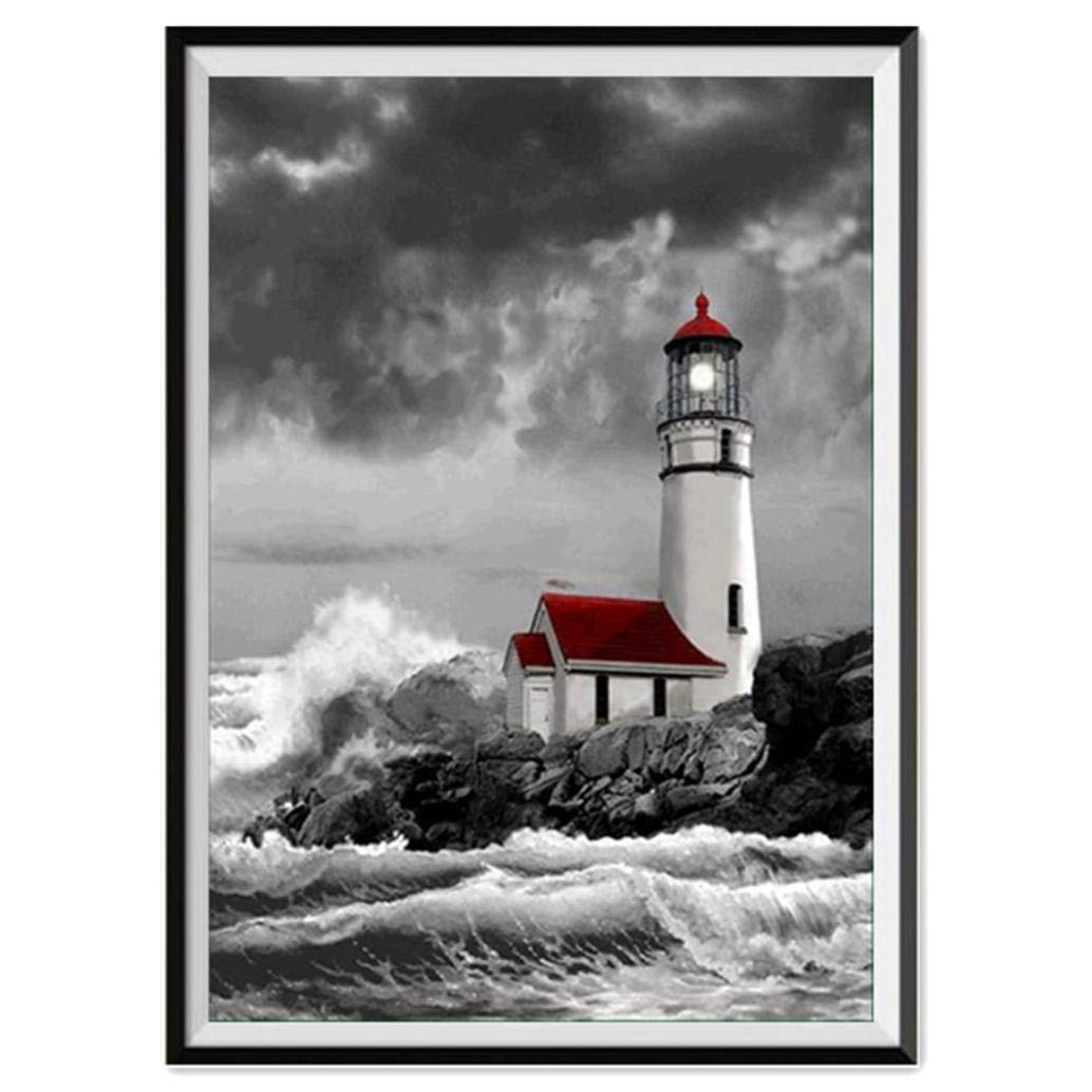 LLguz Lighthouse 5D Embroidery Paintings Rhinestone Pasted DIY Diamond Paintings Part Round Embroidery Kits Arts Home Decoration Wall Decoration
