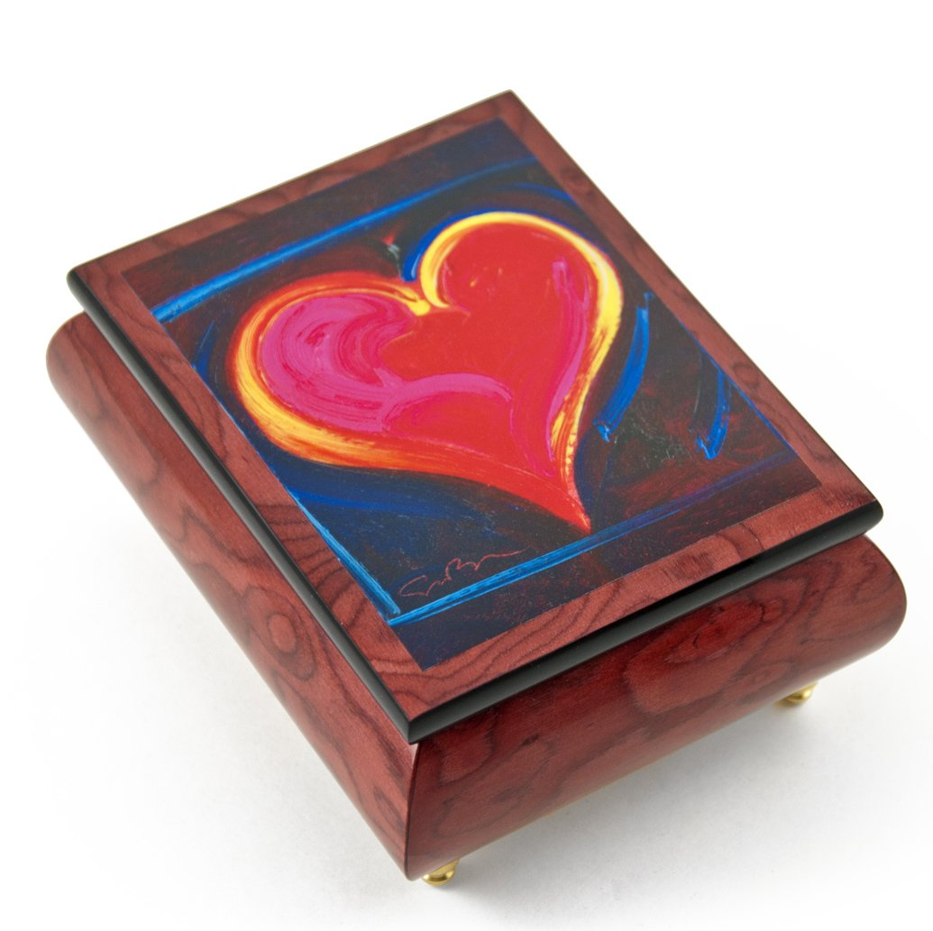 Inspiring Red-Wine Ercolano Painted Music Box Titled ''Heart Felt III'' by Simon Bull - There is No Business Like Show Business