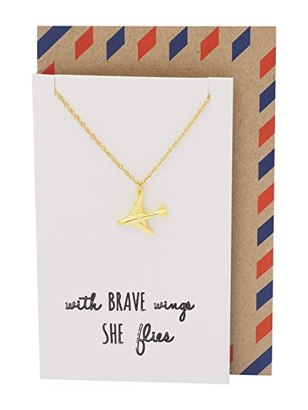 Amazon.com: Quan Jewelry Be Brave Airplane Pendant Necklace ...