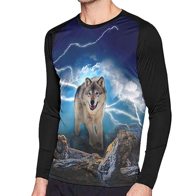 0cde44ca Lightning Night Wolf Men's Basic Crewneck Long Sleeve Raglan T-Shirt ...