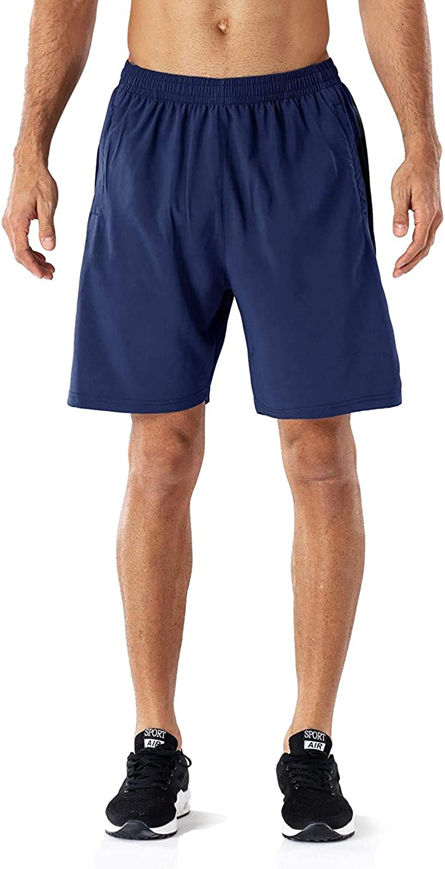 Uni Clau Fashion Men 7 Quick Dry Running Shorts Athletic Gym Basketball Short Zip Pocket