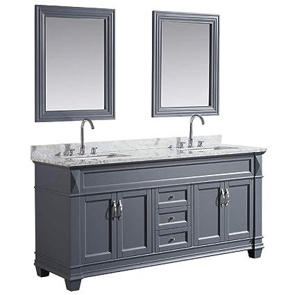 Design Element Dec059d G Wt Hudson 72 Inch Solid Wood Single Sink