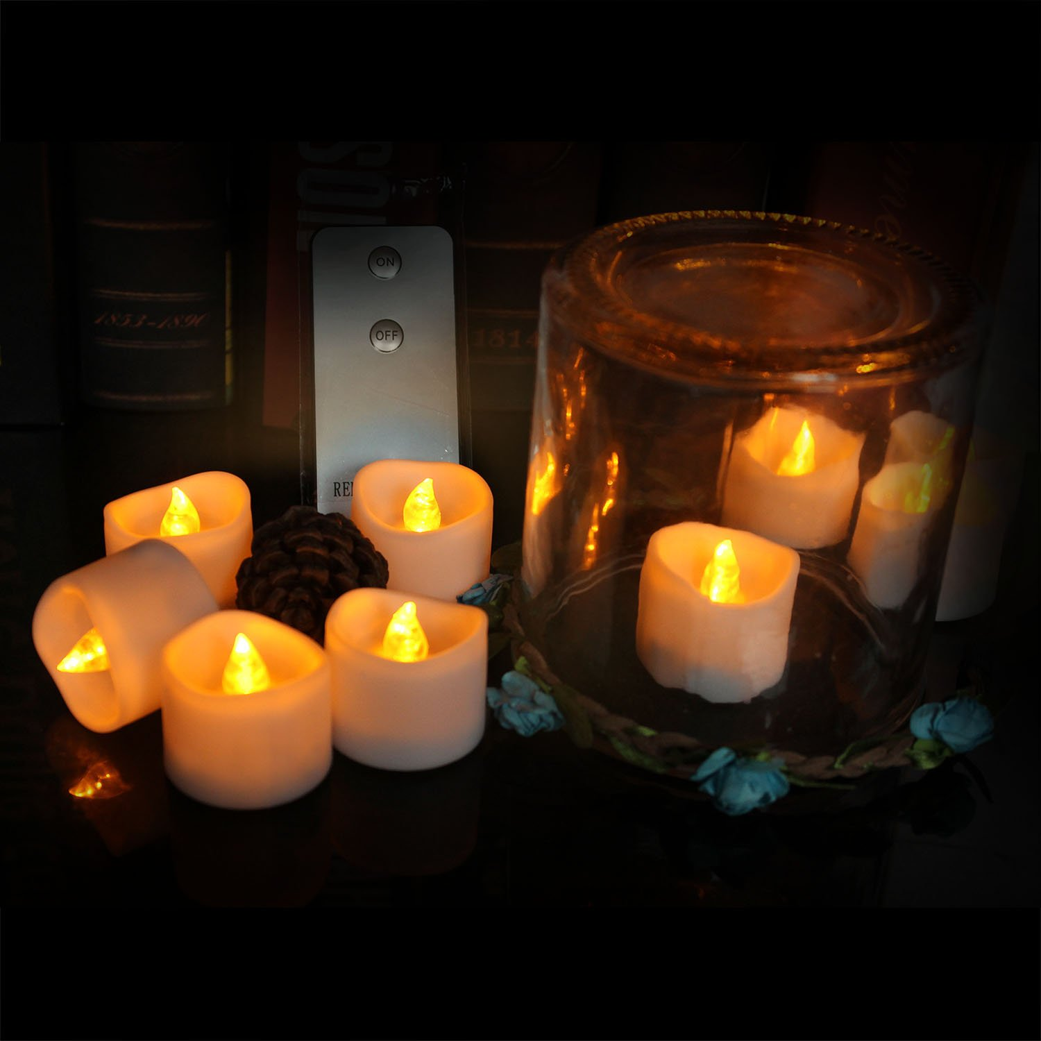 Led Tealight Candles Wavy Flameless Realistic Battery-Powered Waterproof Candles with Remote 24pack for Wedding, Party, Home Decoration, Outdoor (Yellow + Remoto Control)