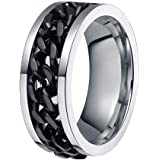 Clearance Men's Titanium Steel Chain Rotation Fidget Ring Cross Border Jewelry Band