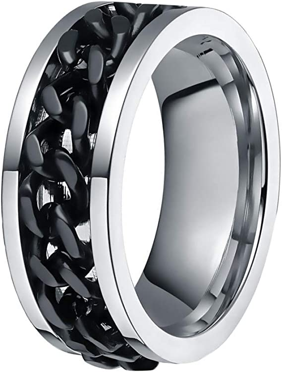 shiYsRL Exquisite Jewelry Ring Love Rings Fashion Men Rotatable Chain Titanium Steel Finger Ring Engagement Jewelry Gift Wedding Band Best Gifts for Love with Valentines Day