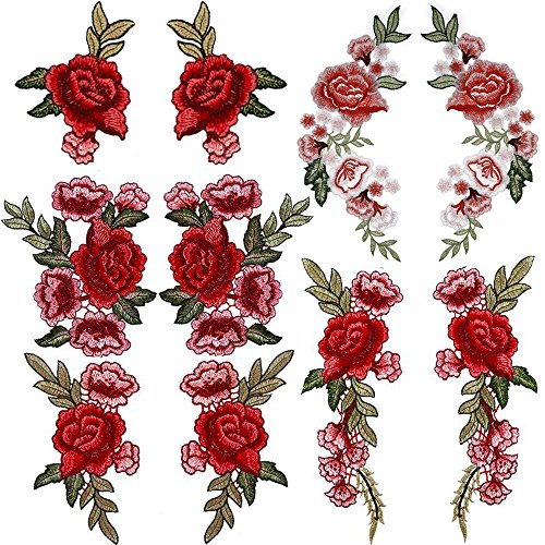 Tuodeal 10 Pieces Rose Patch Embroidered Flower Sew On Patch Applique ()
