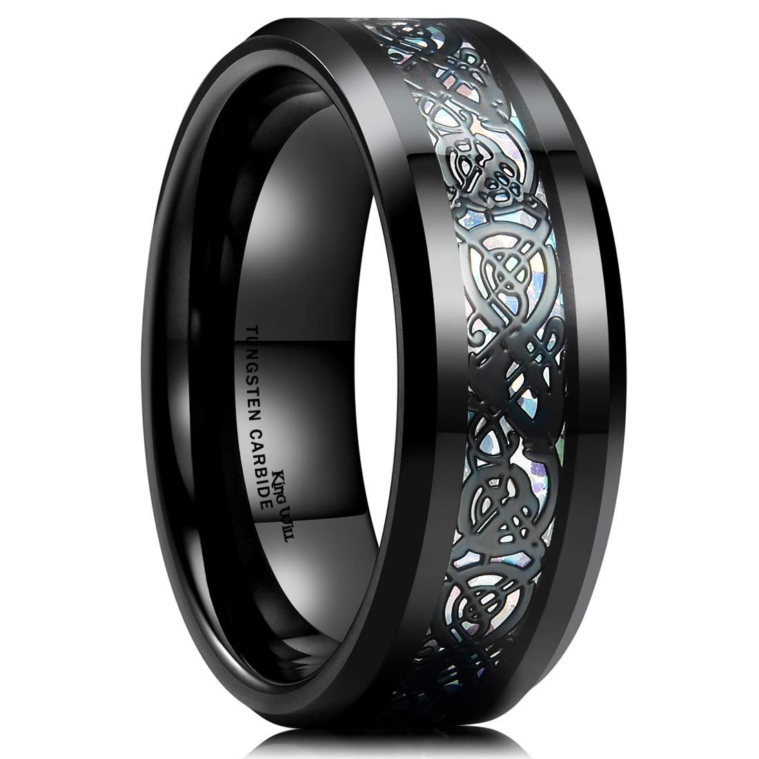 King Will Dragon Men's 8mm Color Opal Black Celtic Dragon Tungsten Carbide Ring Wedding Band