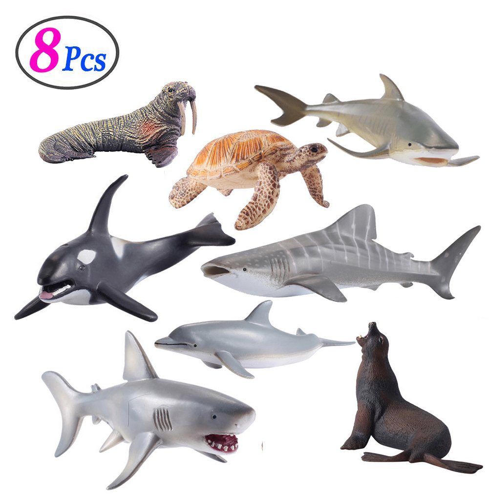 Sea Animals Figure Toys 8 Pcs Set, Realistic Ocean Creatures Action Models, Kids Education Cognitive Toy