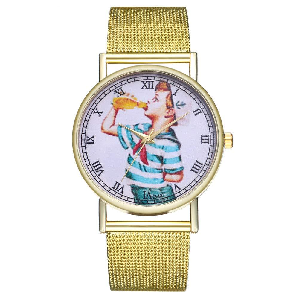 Iuhan Wrist Watches for Women Girls Holiday Deals, Vintage Ladies Round Mesh Strap Watch Bracelet Quartz Fashion Watch Valentine's Gifts (H)