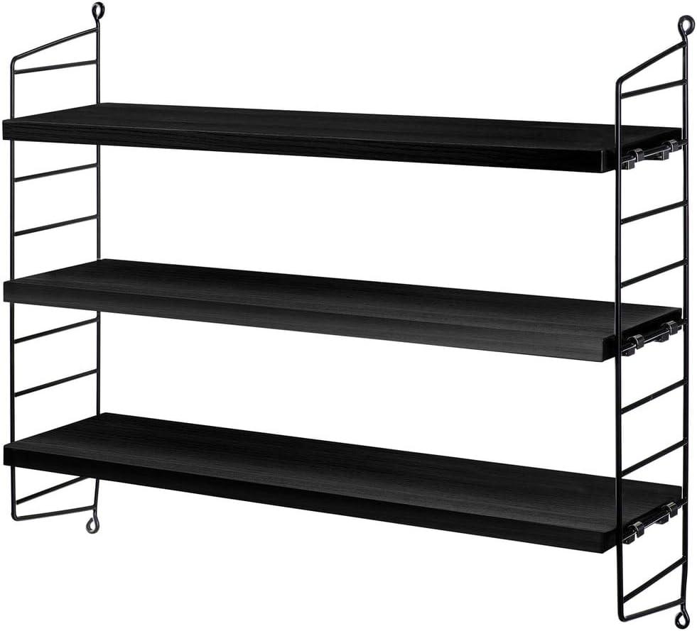 Unbekannt String Escalera de Pared con estantes Pocket Fresno Negro
