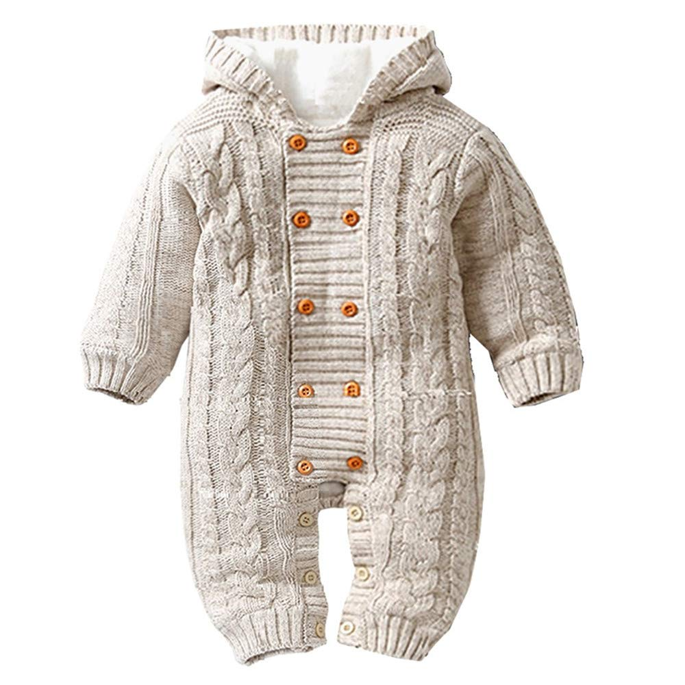 Gallity Toddler Baby Boys Girls Cable Knitted Sweater Romper 0-18 Months Long Sleeve Snowsuit Thicken Fleece Jumpsuit Hooded Sweater (12-18 Months, Khaki) by Gallity Baby Coat