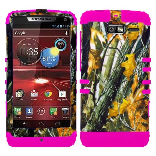 CellPhone Trendz Hybrid 2 in 1 Case Hard Cover Faceplate Skin Pink Silicone and Camo Mossy Hunter Oak Big Branch Snap Protector for Motorola DROID RAZR M (XT907, 4G LTE, - Motorola Hunter Faceplates