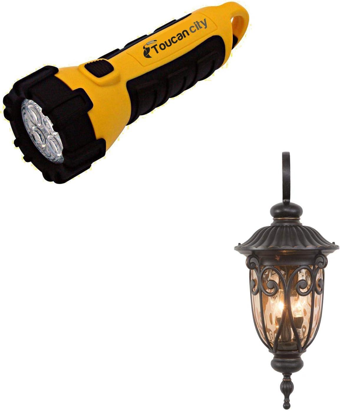 Toucan City LED Flashlight and Yosemite Home Decor Viviana Collection 3-Light Oil Rubbed Bronze Outdoor Wall Lantern Sconce 519LDIORB
