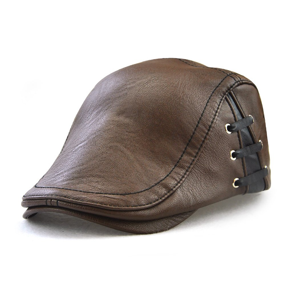 049dde5ddd0 Men s Classic Leather Flat Ivy Vintage Newsboy Cap Golf Hunting Cabby Hat  at Amazon Men s Clothing store