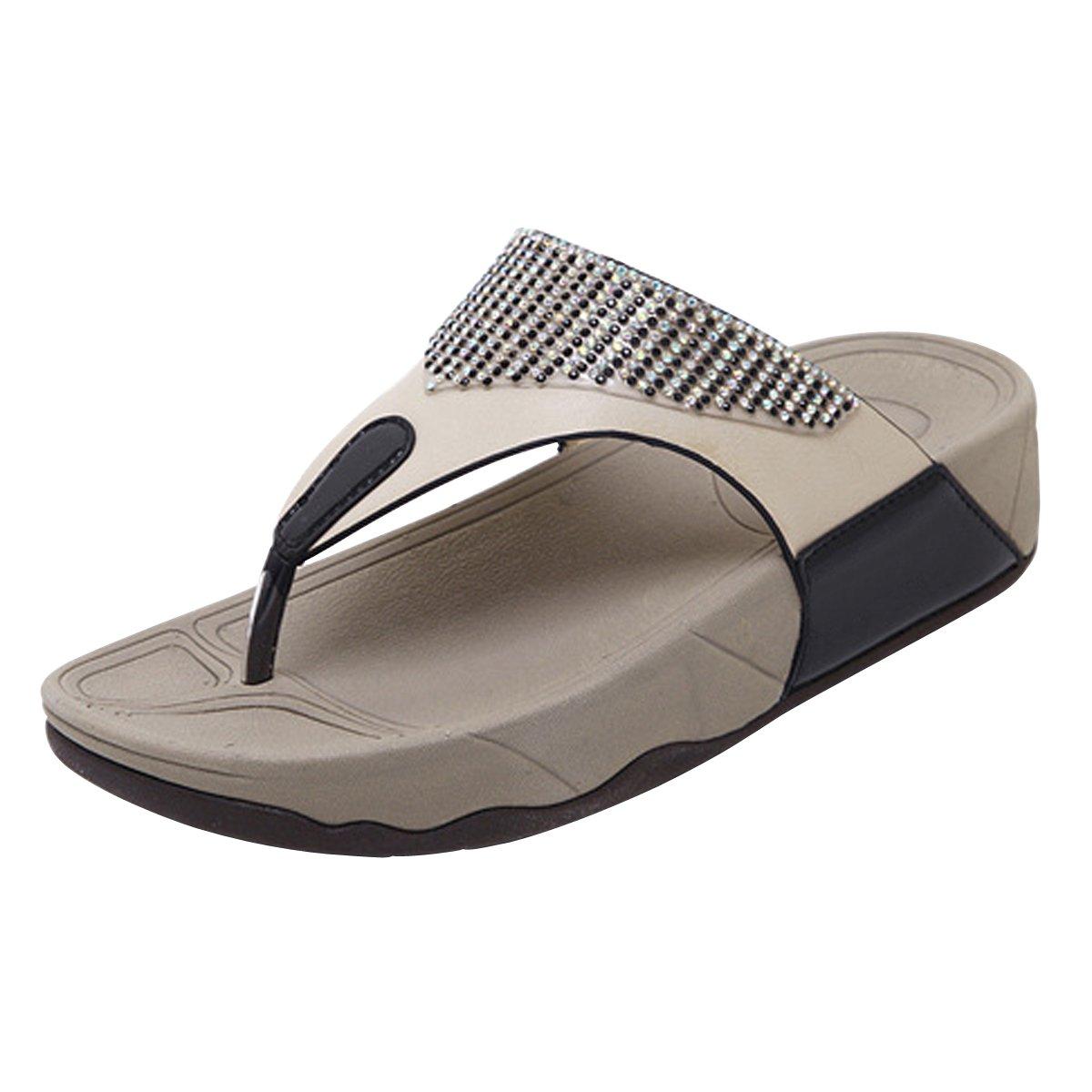 LUXINYU Women Flip Flop Sandals - Wedge Heel Beach Slides, Rhinestone Thong Sandals,Black US 9