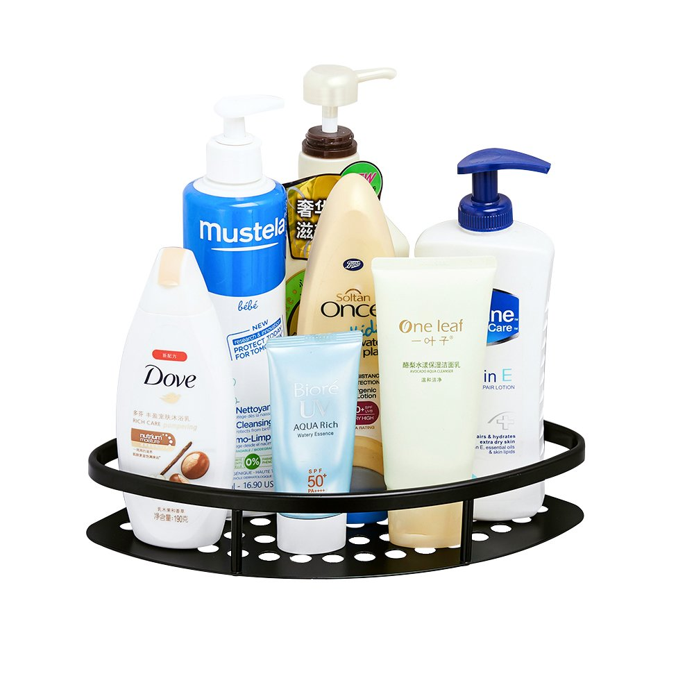 AUNGZONE Corner Shower Caddy Bathroom Shelf Wall Mount Rustproof Nail Free Glue+ Adhesive Aluminum 1 Tier(Black)