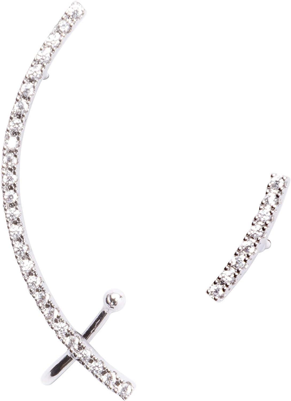 Happiness Boutique Damas Pendientes Asimétricos Ear Crawlers en Plata | Pendientes Ear Cuff con Diamantes de Imitación de Circonio