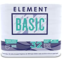 Element Basic Papel Higiénico Ecológico, 300 hojas dobles, 32 Rollos