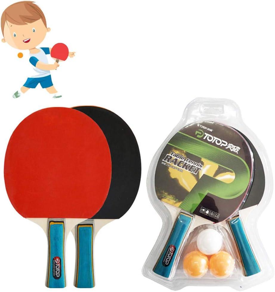 governingsoldiers Juego de Tenis de Mesa portátil,Sets de Raquetas de Tenis de Mesa 2 Palas Ping Pong y 3 Pelotas Ping Pong,para Actividades al Aire Libre en Interiores