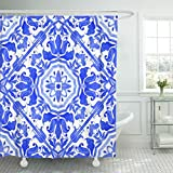 Emvency Shower Curtain Portuguese Azulejo Tiles Blue and White Gorgeous Patterns for Cases Smartphones Pillows Towels Linens Waterproof Polyester Fabric 72 x 78 inches Set with Hooks