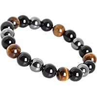 LY Show Tiger Eye Triple Protection Bracelet hématite et Obsidienne Noire
