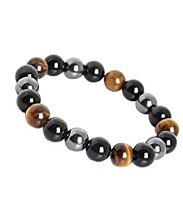 LY SHOW Tiger Eye Triple Protection Bracelet hématite et Obsidienne Noire(10mm)
