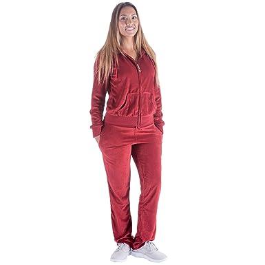 TanBridge Women Velour Tracksuit Set 2 Piece Outfit Hoodie   Sweatpants  Jogger Sets Wine S 11dd47ae2