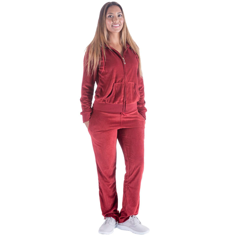 Tanbridge Women Velour Tracksuit Set 2 Piece Outfit Hoodie & Sweatpants Jogger Sets Wine L