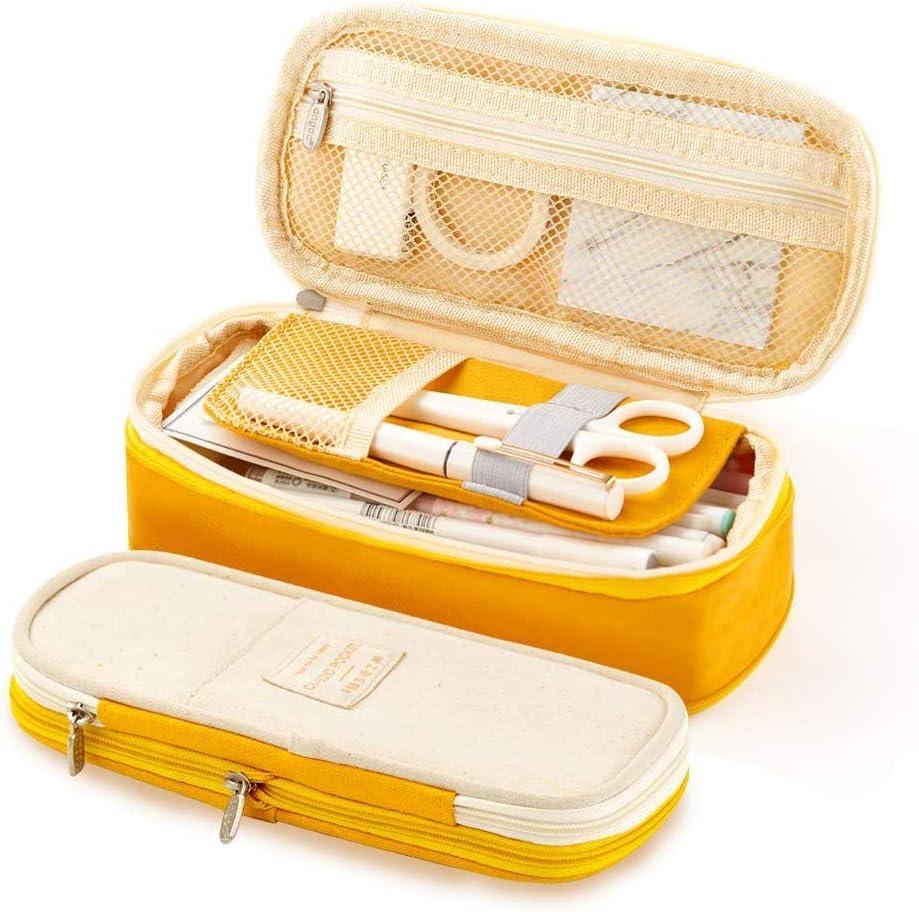 LJNYF Pencil Case,Canvas Pencil Case,Large Capacity Pencil Case,Middle School Pupil Pencil Bag,Pen Case Pencil Bag Pouch with Big Compartments for School Office