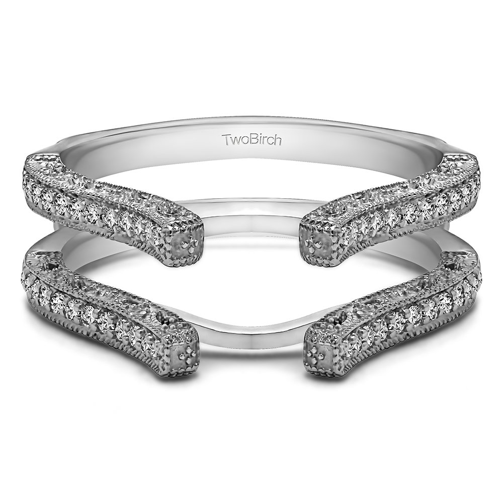 TwoBirch 0.36 ct. Cubic Zirconia Cathedral Filigree Wedding Ring Guard in Sterling Silver (3/8 ct. twt.)