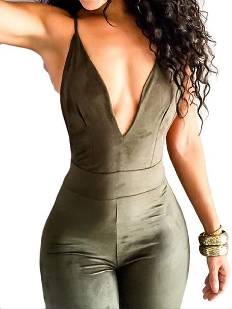65ec98778b40 Amazon.com  Zimaes-Women Bodysuit Open Back Tight Sexy Camisole Stylish  Rompers  Clothing