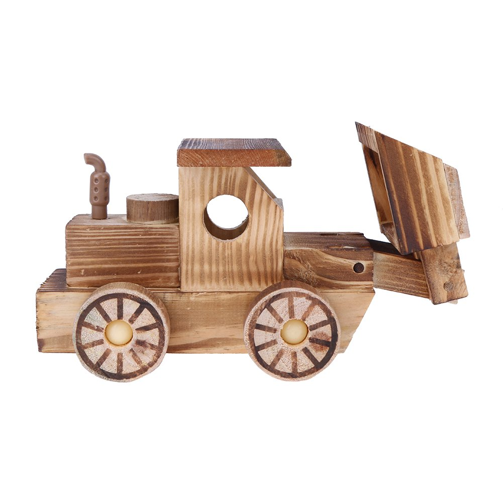 La Cabina Voiture en Bois Modèle de Tracteur Mini Intéressant Jouet de Voiture de Dessin Animé Voiture Jouet en Bois pour Enfant 155152