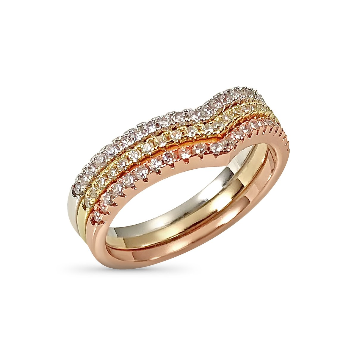 Belle Chérie Chevron Ring Set - Three Stackable Rings Gold Rose Silver Tone Pave Set Crystals