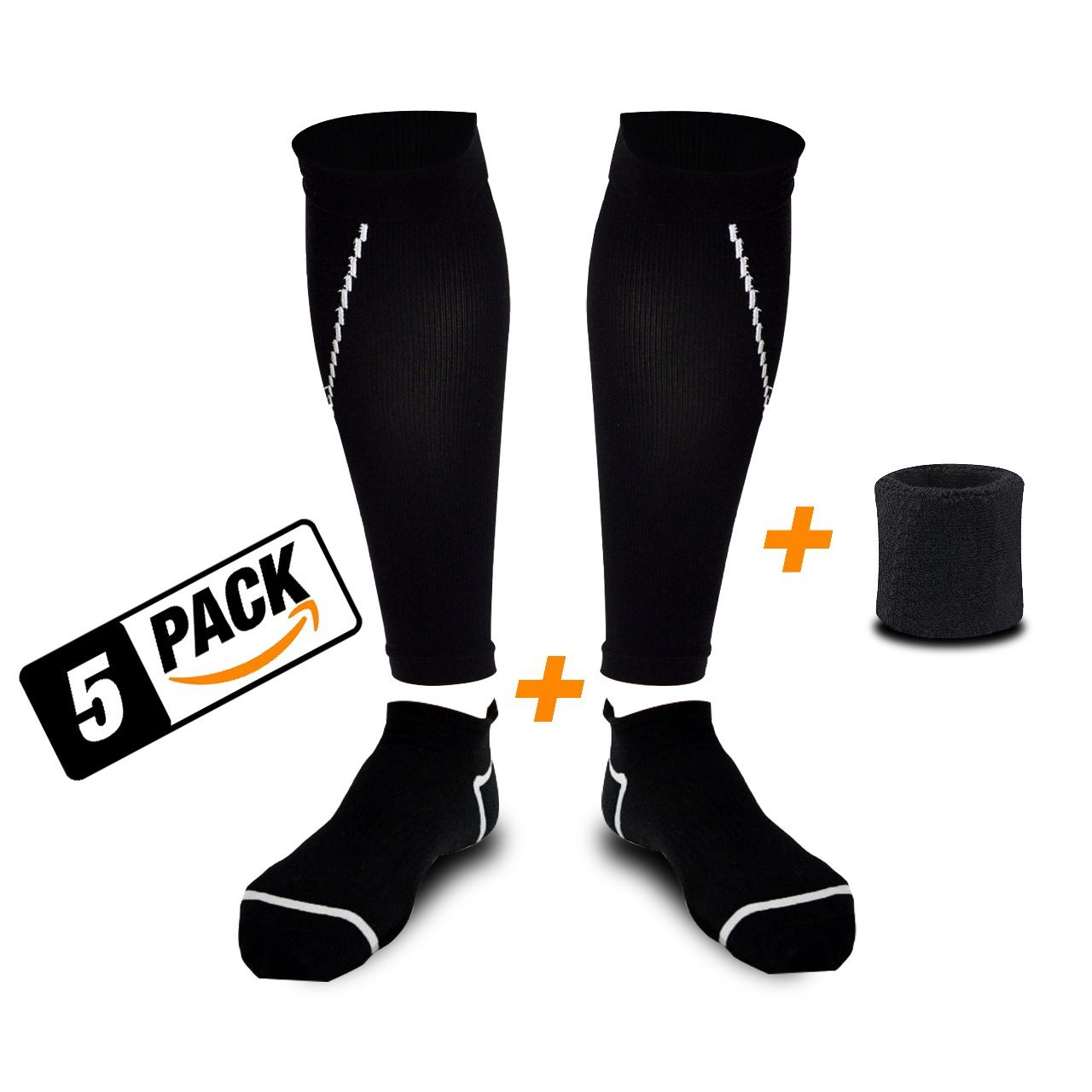 (SET OF 5) Compression Calf Sleeve + Athletic Socks + Wrist Sweatband - Best Leg Compression Socks - For Shin splint & Pain Relief - For Men & Women - Cycling , Runners , Air Travel and Nurses