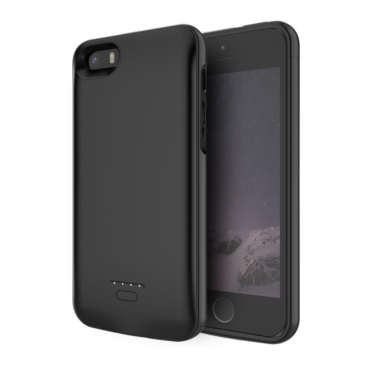Moonmini Funda Batería iPhone SE 5 5S, BasicStock 4000mAh Batería Externa Recargable Ultra Delgada Protector portátil Carga Caso de Prueba de Choque ...