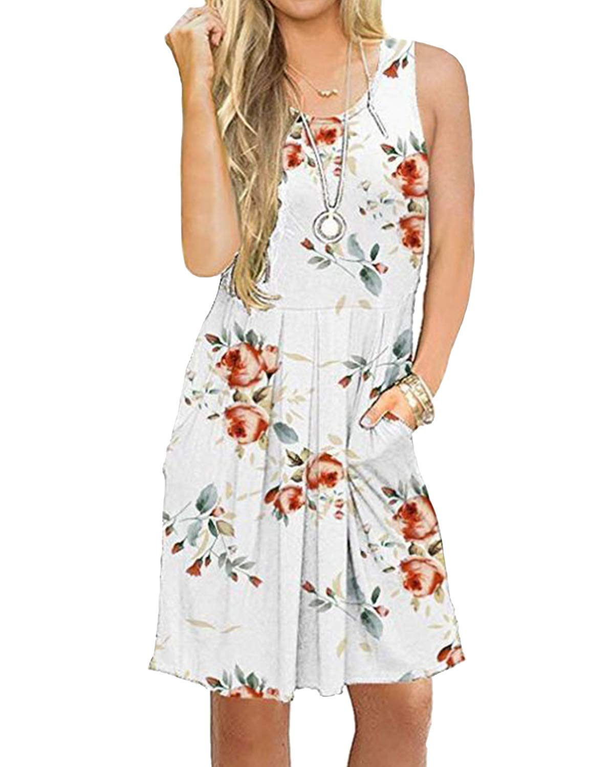 deesdail Floral Dresses for Women Midi, Ladies Crewneck Sleeveless Summer Tunic Knee Length Long Tanks Casual Dress with Pockets Flower White M